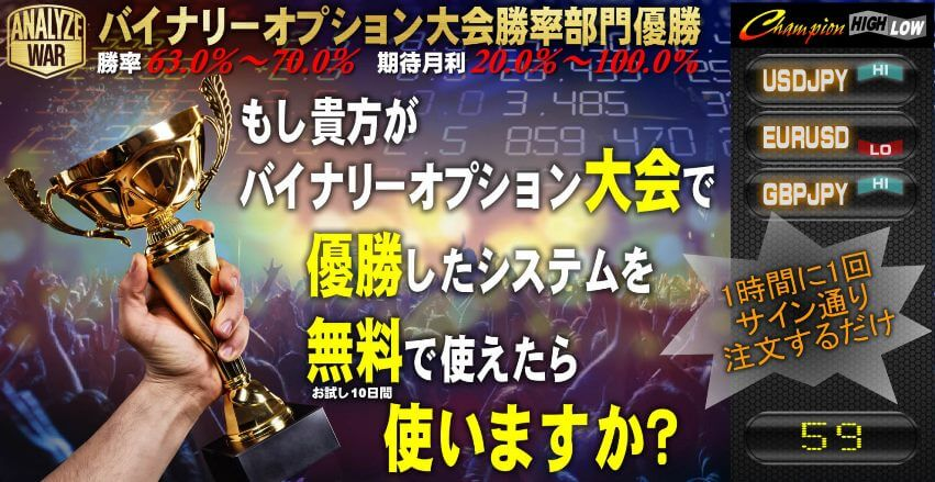 バイナリーコンテスト優勝 Champion High/Low【評価とレビュー】